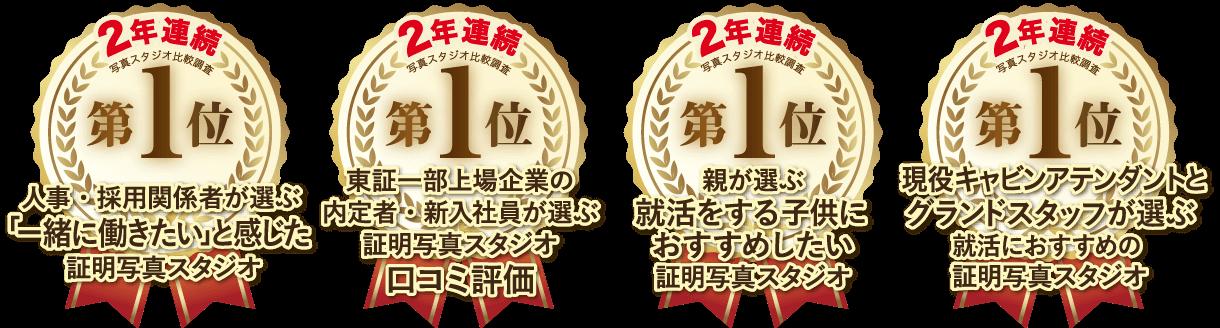 証明写真におすすめの2年連続人気スタジオNo1のロゴ
